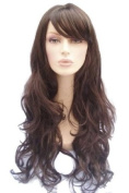 Extra Long, Dark Brown Wig With A Side Sweeping Fringe And Beautiful Big Curls