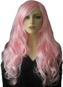 Light Pink Wig With A Side Parting And Big Loose Curls, Extra Long
