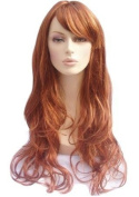 Red/Auburn And Blonde Highlighted Wig With a Side Sweeping Fringe and Big Loose Curls, Extra Long