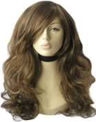 Two Tone Brown Wig With Blonde Highlights, A Side Parting And Big Loose Curls, Extra Long