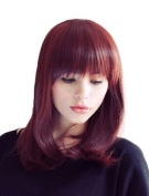 Cosplayland C395 - 40cm dark brown wig with Red lustres gerade Bang chic short Wig