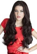 3/4 or Half Wig Hairpiece Extension, Black & Purple, Wavy