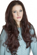 3/4 Half Wig Hairpiece Extension, Reddish-Brown, Long Loose Waves