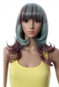 Cosplayland C1220 - 45cm Gulico Styling Lolita - Brown Mint Green flip out Mid-long Wig