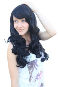 Cosplayland C329 - 60cm Black Curly gerade Bang Daily Fashion heat resistant Wig