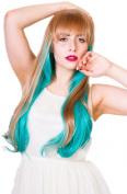Cosplayland C411 - Culico Fashion 70cm Brown Turquoise Green gerade Bob Bang Straight Wig