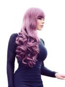 Cosplayland C668 - 70cm plum Purple Wavy gerade Bangs Lolita natural looking Full Volume long Wig