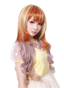 Cosplayland C729 - 70cm long hair Curly Wig with colour gradient Violet Blonde Orang for Fashionshow Theatre