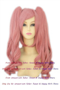 NEW double pony tail Pink Curly Anime cosplay wigs party Masquerade girls 30CM + 65CM