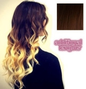 Half Head Clip in Dip Dye - Colour 2/27 - Darkest Brown/Strawberry Blonde