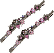 Ebuni Pink Vintage Flowers Hair Slides set with Crystal / Ladies Girls Hair Accessory