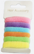 Assorted Pack of 6 Hair Ponios Bands Accessories - Pastel Colours