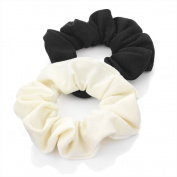 Bling Online 2pc Scrunchie Set. Approx 8cm outside. Black, Cream