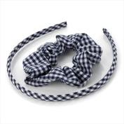 Girls Navy Blue Gingham Headband/ Alice Band & Hair Scrunchie Set