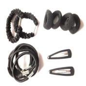 Black School Hair Slides Elastics Bands Ponios Set IN4528