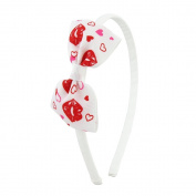 Funky white headband, the bow has red cheeky lips detail ideal for women's and children 1 size fits all