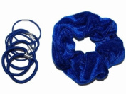 Glitz4Girlz Royal Blue Velvet Scrunchie Set