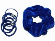 Glitz4Girlz Royal Blue Velvet Scrunchie Set