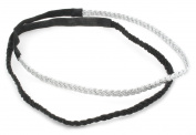 2 Pack Black & Silver Plaited Headband Hair Accessories by Zest