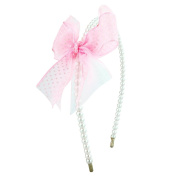 Beautiful pearl beaded alice band, with polka dot organza layered bow, perfect for girls and young ladies