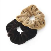 Pair of Brown Tone Velvet Feel Hair Scrunchies Bobbles Elastic Hair Bands