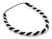 Silver Lurex & Black Chunky Twist Head Band Hair Accessories by Zest