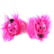 2 Girls Pink Ladybird Fluffy Hair Ponios/Bands IN9655
