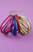 12 Bright Metallic Shiny Hair Bands/Elastics IN8516