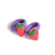 2 Girls Purple & Red Strawberry Hair Ponios IN8644