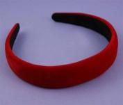 Aliceband - Red Flock ~25mm padded alice band headband