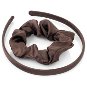 Brown Satin Alice Band & Scrunchie Set AJ26652