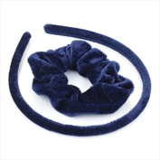 Navy Velvet Alice Band & Scrunchie Set AJ26638