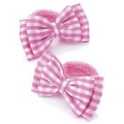 2 Girls Pink Gingham Bow Hair Ponios/Bands AJ25796