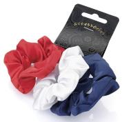 3 Red White Blue Satin Hair Scrunchies AJ26656