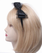 Black Satin & Mesh Bow Alice Band IN9269