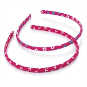 2 Hot Pink Heart & Flower Slim Alice Bands AJ25799