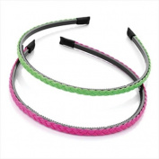 2 Neon Pink & Green Faux Leather Plait Alice Bands AJ25928