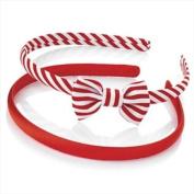 2 Red & White Stripy Bow Alice Bands AJ25782