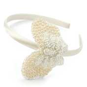 Ivory Beaded Butterfly Alice Band AJ26906