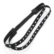 Silver Studded Black Suede Elastic Headband AJ25709