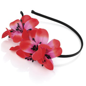 Red Pink Black Flower Alice Band IN24152