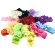 Zehui 12Pcs Lot Girl Peony Headband Hairband Hair Silk Flowers Clip Kids Baby Headwear