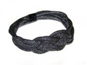 Johnny Loves Rosie Rope Garland Headband with Knot Centre and hook and loop Fastening Metallic Silver