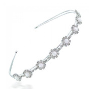 Bling Jewellery White Gold Plated Pearl Flower Crystal Tiara Headband