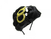 Johnny Loves Rosie Black Beret Style Hairband with Gems