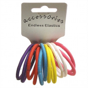 Useful pack of 12 Bright tones ,Mixed pack Red,Purple,White ,Yellow ,Turquoise Pink,Endless (No Metal join to snag hair) Medium thickness hair ponios ,pony tailers ,Hair elastics .Brand new with tags ,Ideal every day wear .