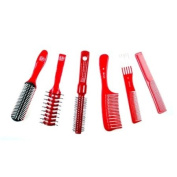 Pro Tip Red Viskit Comb & Hair Brush Set in Clear Carry Case