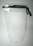 Comby Large Clear (Black Trim) Drawstring Bag - DENBG310