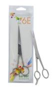 6E 17cm Satin Finish Fixed Screw Barber Scissors