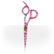Roo Offset Pink Square Motif Hairdressing Scissors